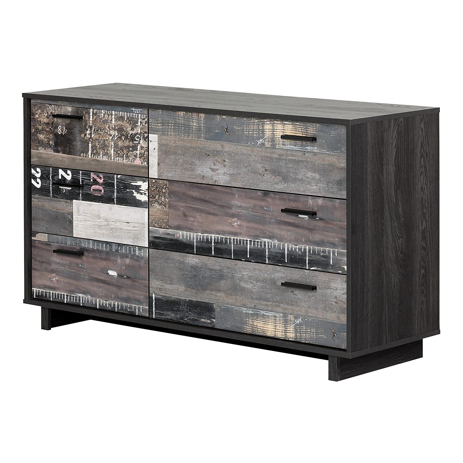 South Shore Fynn 6-Drawer Double Dresser, Gray Oak and Factory Planks Effect
