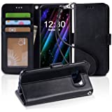 Galaxy s8 Case, Arae [Wrist Strap] Flip Folio [Kickstand Feature] PU leather wallet case with ID&Credit Card Pockets For Samsung Galaxy s8 (NOT for galaxy s8 plus), (Black)