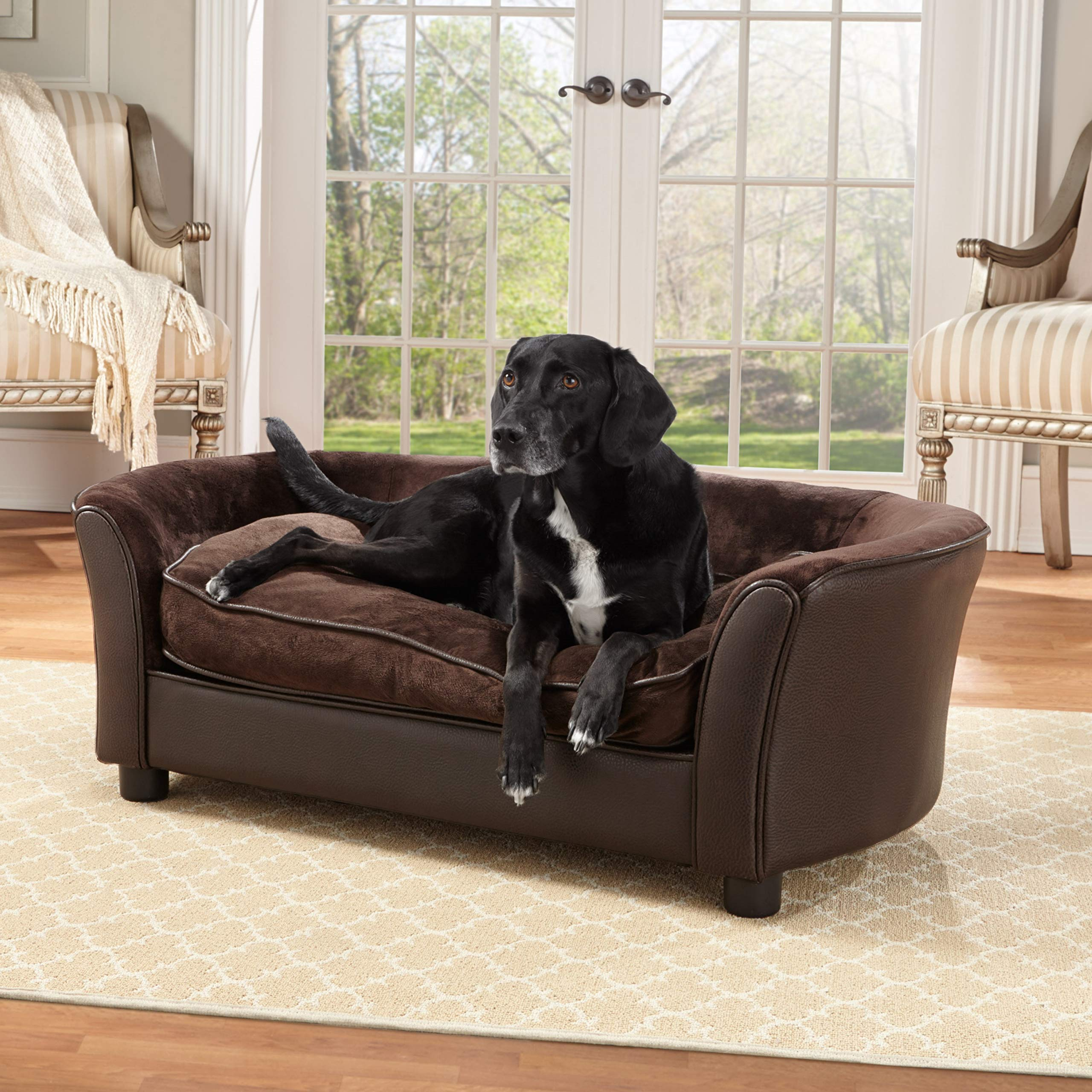 Enchanted Home Pet Ultra Plush Panache Pet Sofa in Pebble Brown, Medium (26-50 lbs) by Enchanted Home Pet