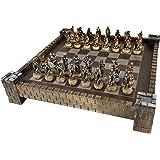 "Skeleton Slayer Fantasy Skull Chess Set w/ 17"" Castle Fortress Board"