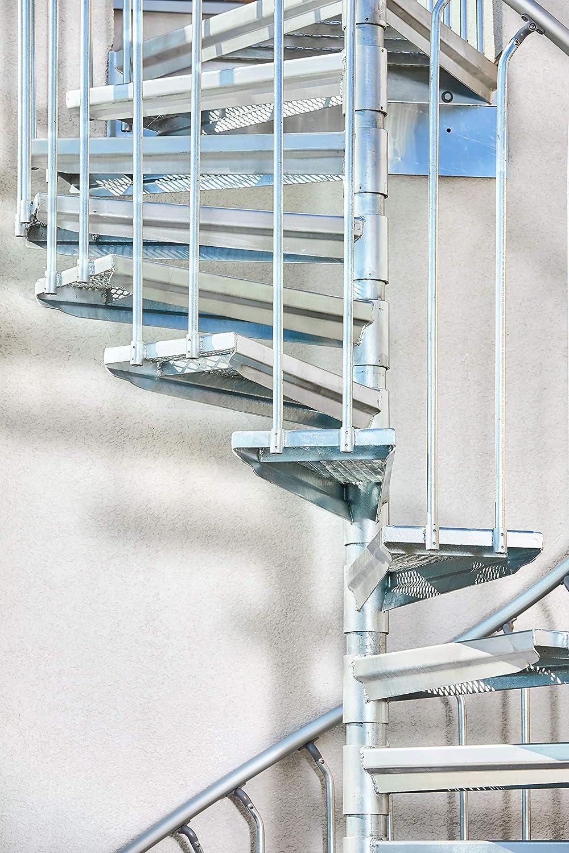 Stahltreppe 180 cm SCALANT Scarvo 180 Au/ßenspindeltreppe feuerverzinkt Durchmesser 180 cm Baukastensystem
