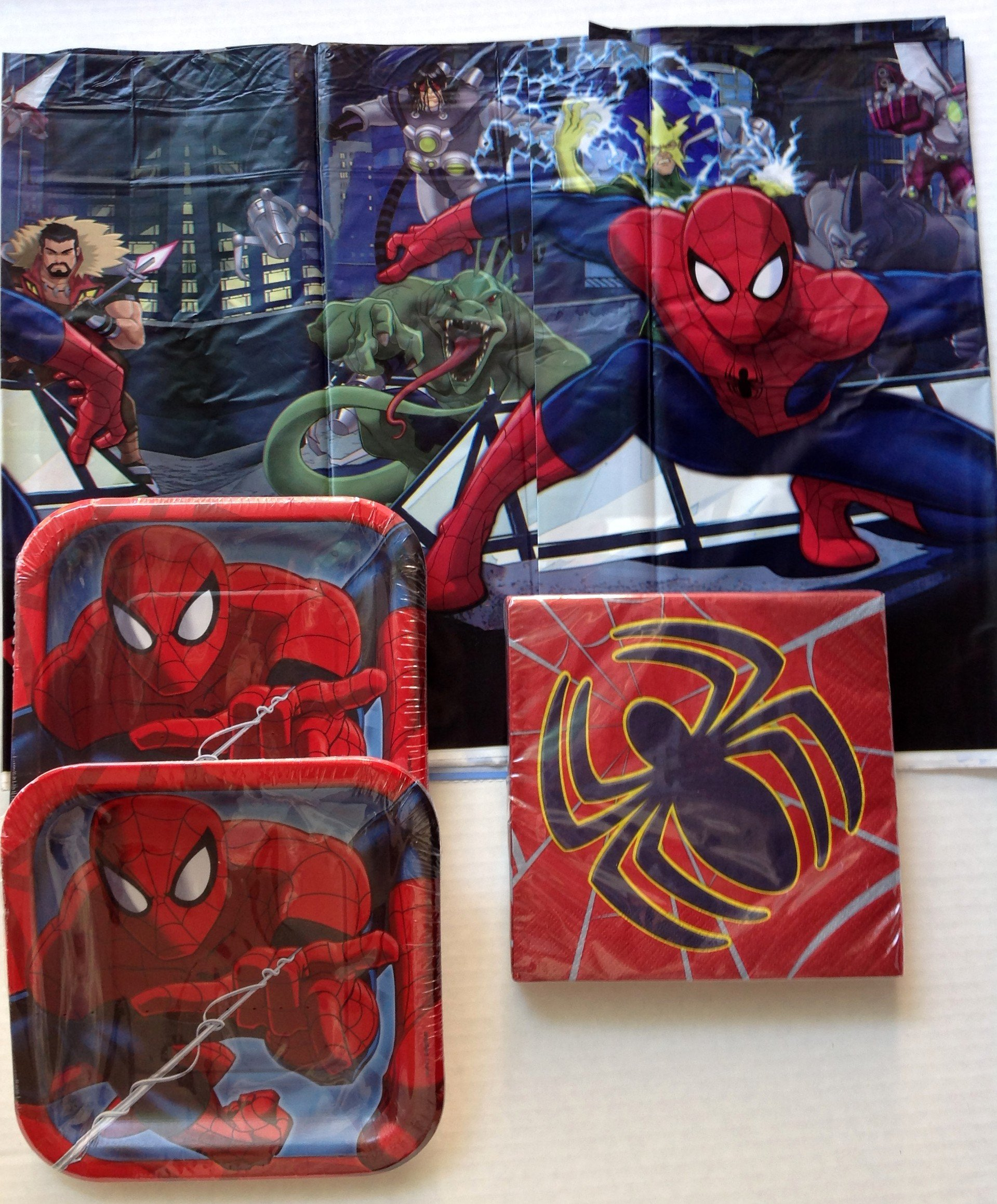 Marvel Spiderman Party Supplies Pack for 16 - Plates, Napkins, Tablecover
