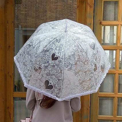 Paraguas blanco boda paraguas de marfil del modelo del corazón de la burbuja paraguas del cordón