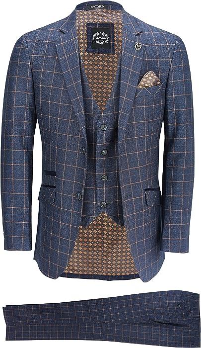 0cf31458c Xposed Mens Blue Check 3 Piece Suit [36 UK, 46 EU,SUIT-ROGER-6-BLUE ...