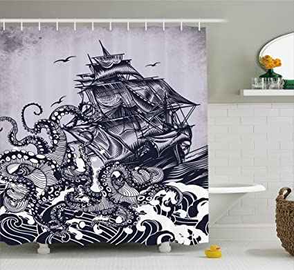 Ambesonne Nautical Shower Curtain Sail Boat Waves And Octopus Ship With Kraken Home Textiles Hand