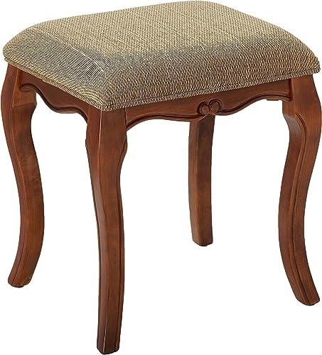 Design Toscano Lady Guinevere Makeup Chair Vanity Stool Bedroom Bench, 20 Inch, Hardwood, Cherry Finish