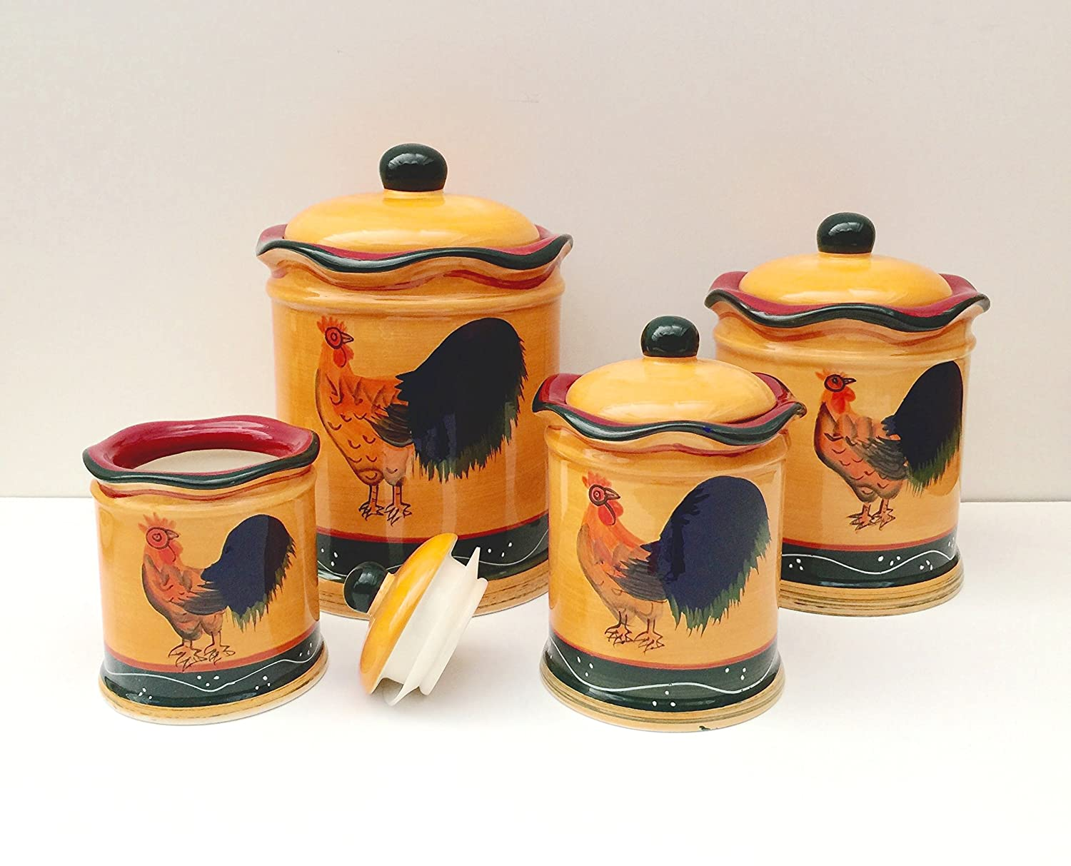 amazon com tuscany sunshine country rooster hand painted amazon com tuscany sunshine country rooster hand painted canisters set of 4 85701 by ack kitchen storage and organization product sets