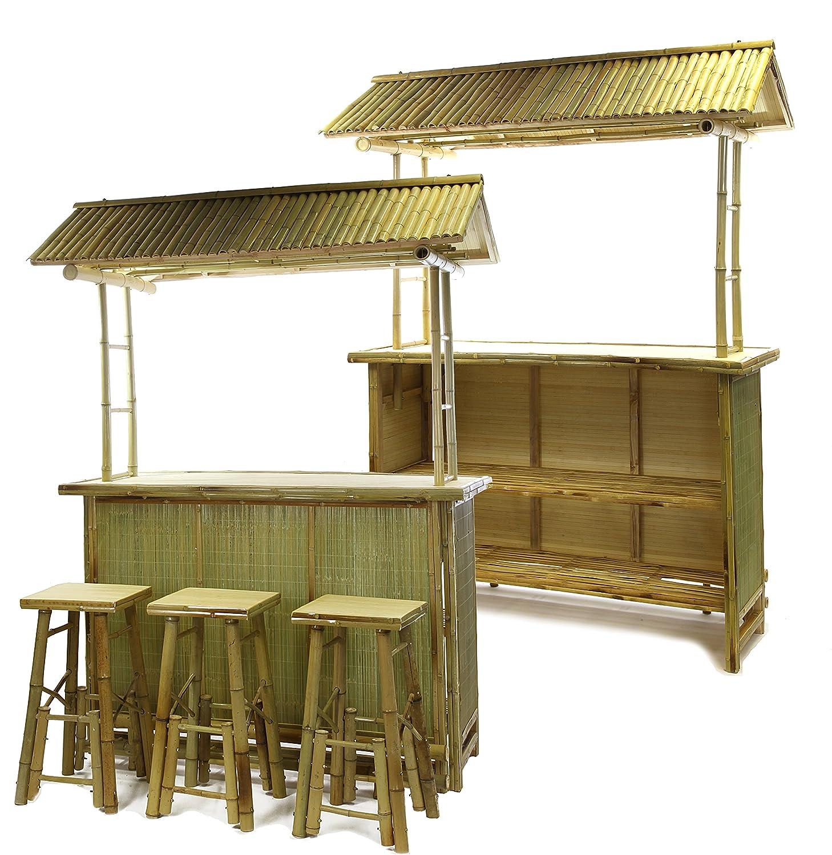 4 tlg. Bambus Bar Tiki Bar Bamboo Outdoor Garten Hocker: Amazon.de ...