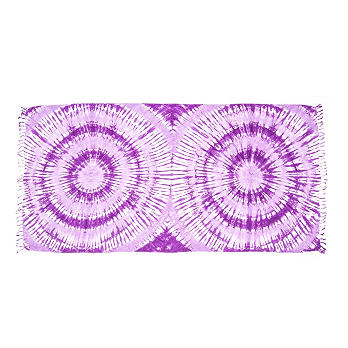 MANUMAR Sarong | Toalla de playa Pareo | Tela ligera púrpura e rosa e bianco en