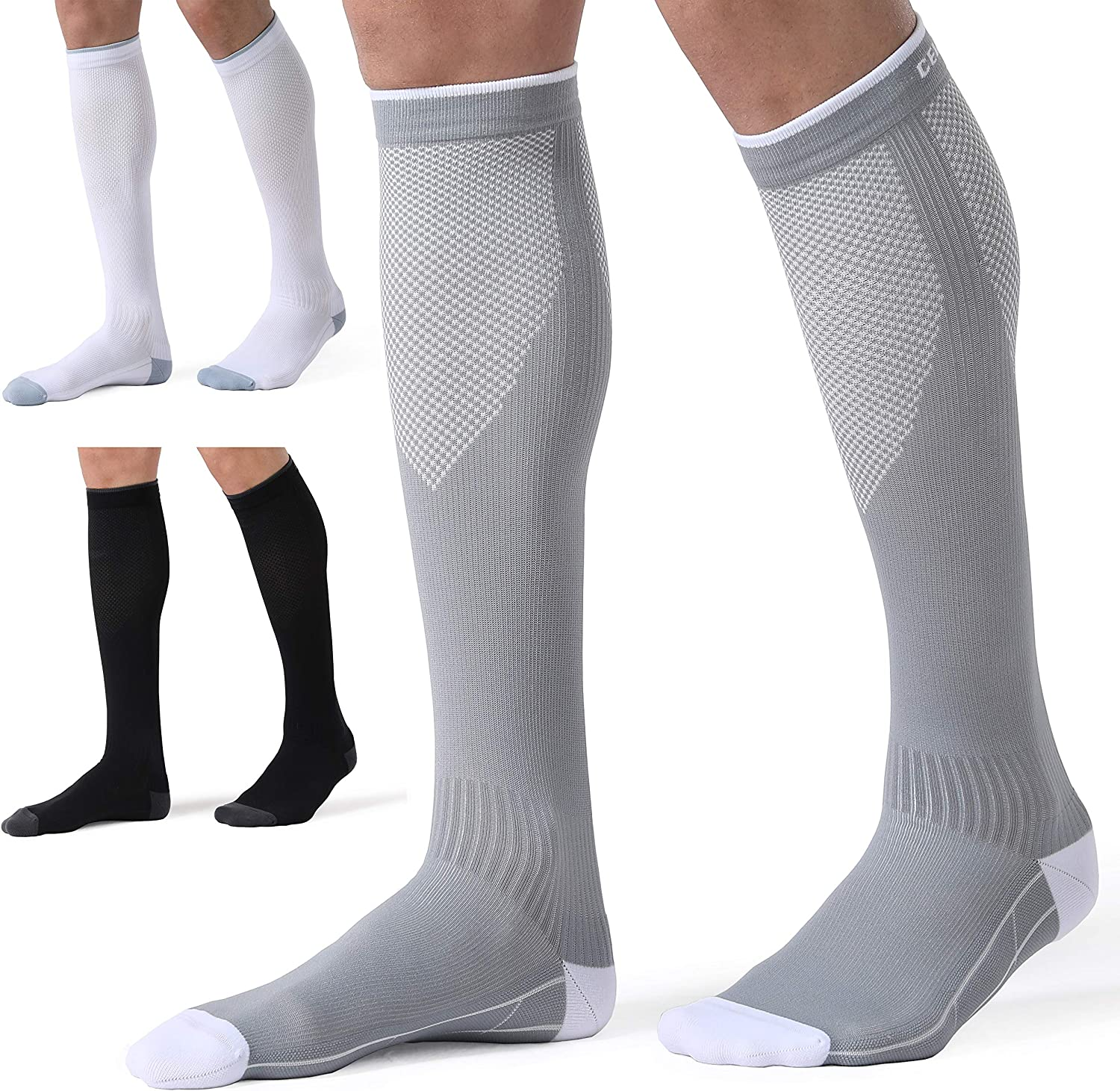 CelerSport 3 Pairs Compression Socks for Men and Women 20-30 mmHg Running Support Socks