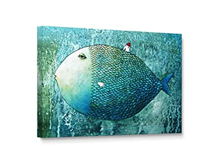 Niwo Art TM – Teal Fish, Ocean Living Series, Giclee Wall Art for Home Decor, Gallery Wrapped, Stretched, Framed Ready to Hang 36 x24 x1.5