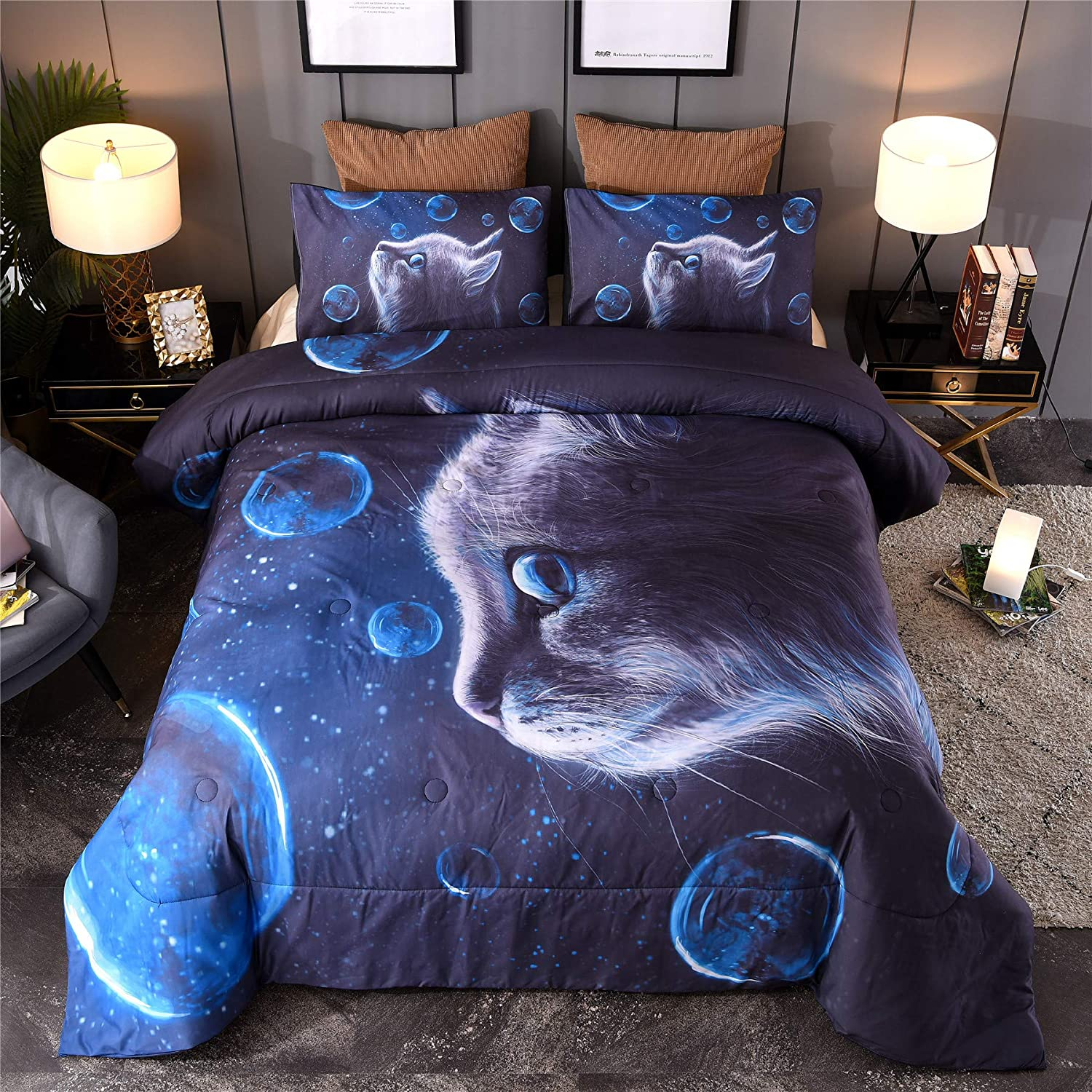A Nice Night Multicolor Blue Bubbles Galaxy Cats Printed,for Boys and Girls Quilt Comforter Sets with Pillowcases Child Bedding Sets (Multi-E, Queen)