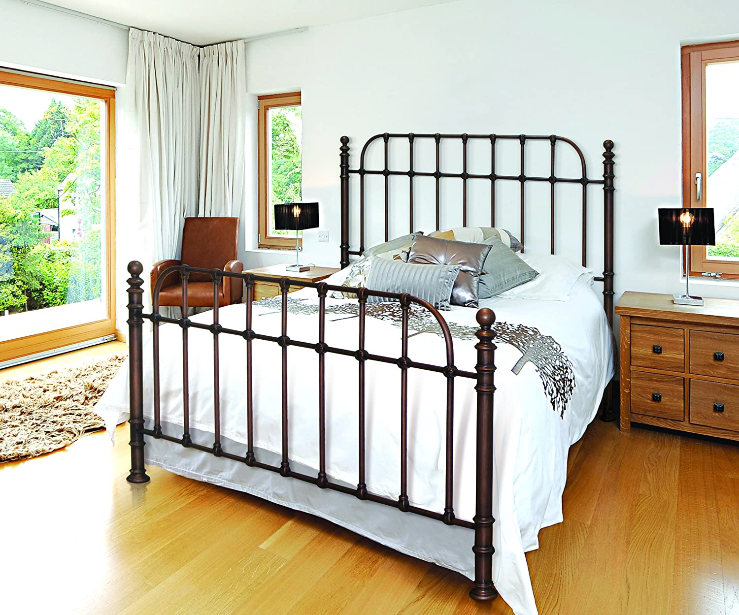 Amazon.com: Bell\'O B565QDC Metal Bed Frame Queen, Dark Copper ...