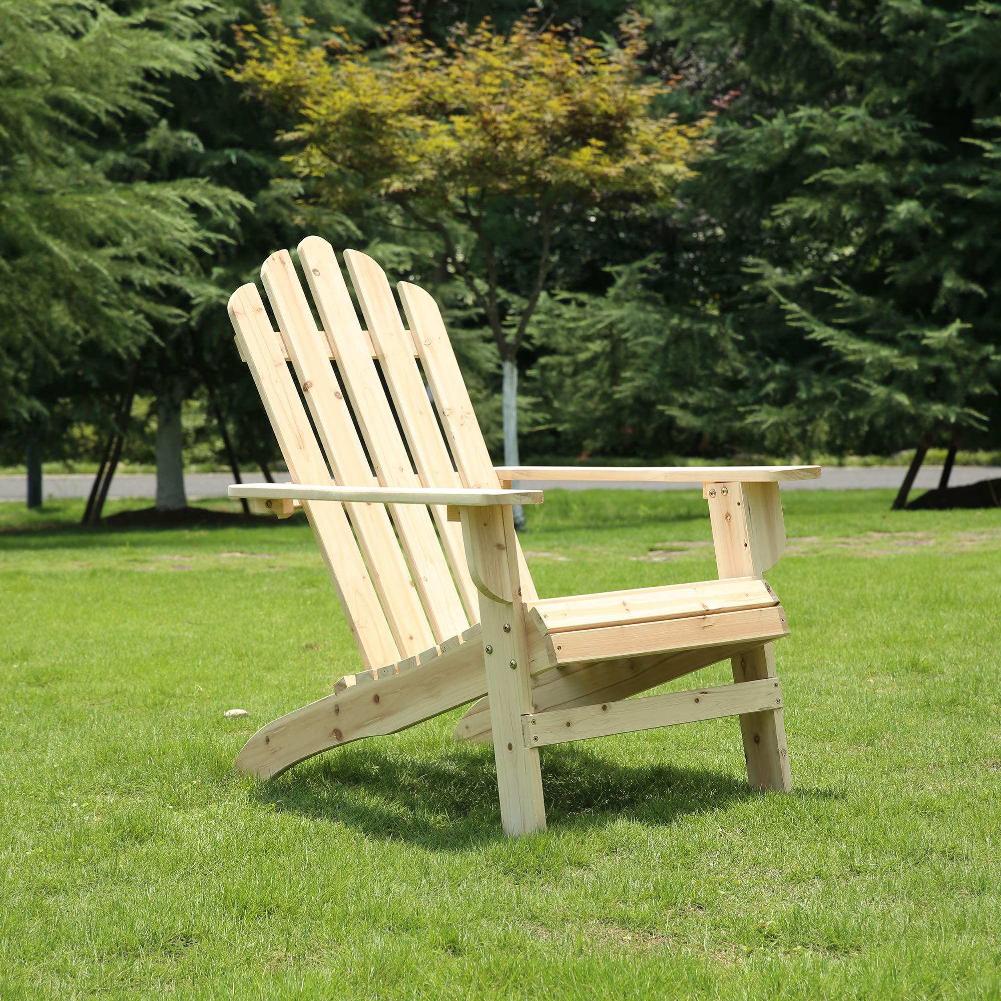 Azbro SongSen Outdoor Wooden Fashion Adirondack Chair/Muskoka Chairs Patio Deck Garden Furniture,Natural by Azbro