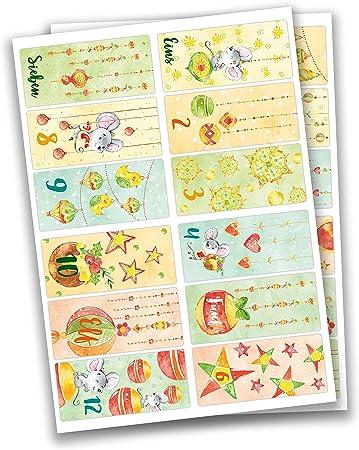 24 pegatinas de números para calendario de Adviento Ratones con queso No 65 - para crear y decorar,C