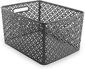 BINO Woven Plastic Storage Basket, X-Large (Grey)
