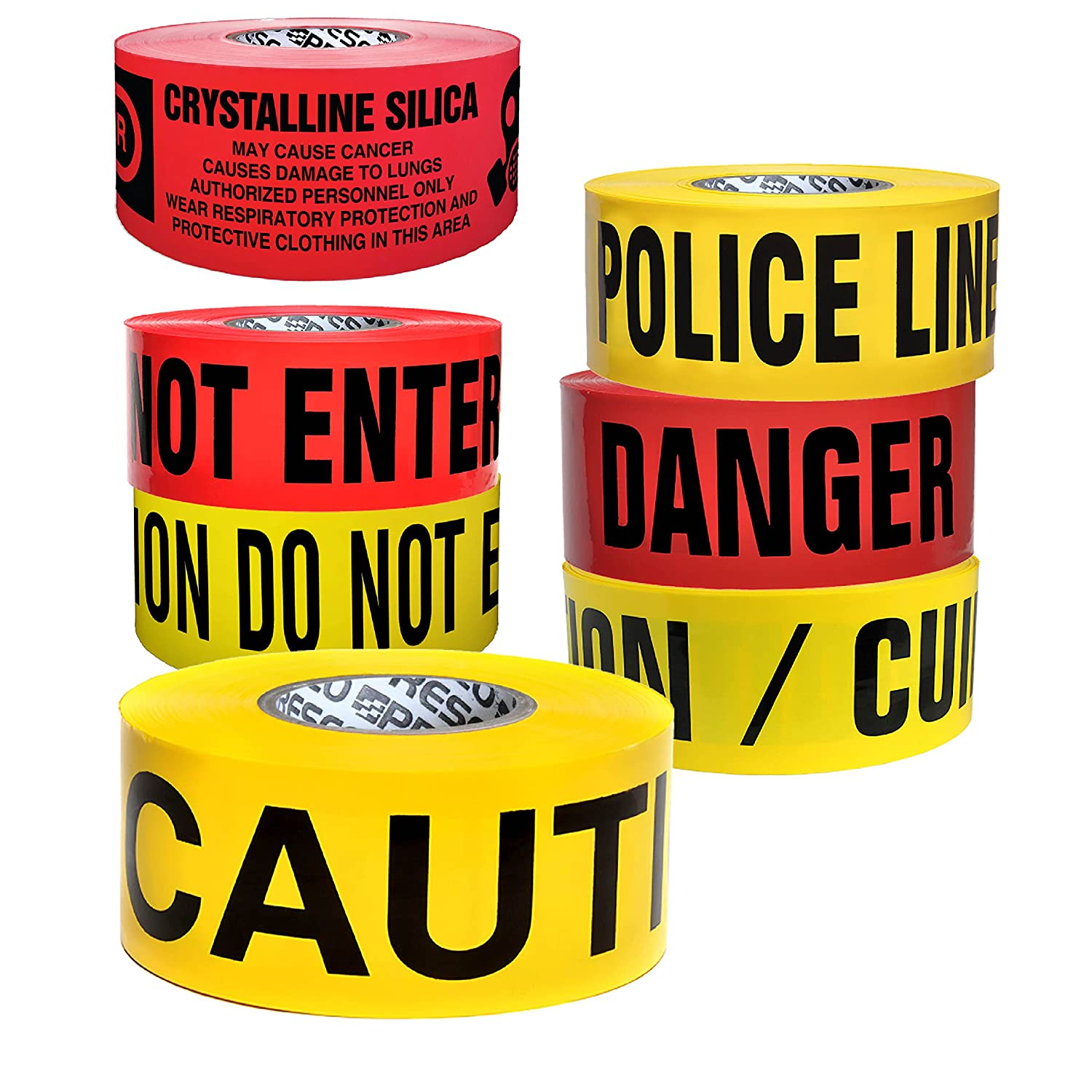 Red with BlackDanger DO NOT Enter Printing 3 in Presco Economy Printed Barricade Tape x 1000 ft.