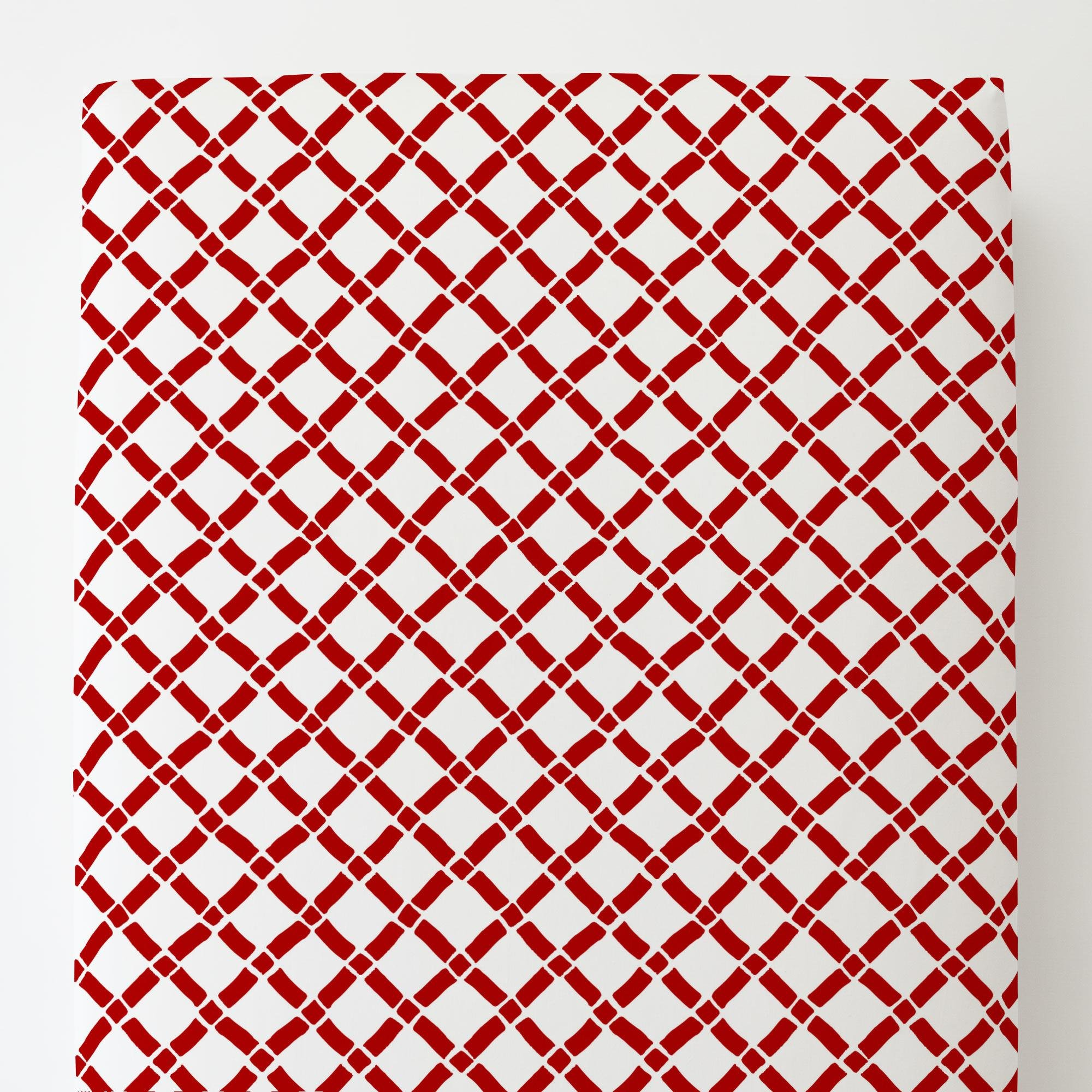Carousel Designs Red Hand Drawn Lattice Toddler Bed Sheet Fitted