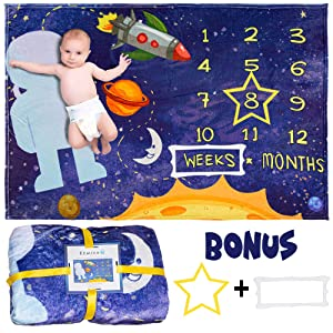 Kemina Blankets Baby Monthly Milestone Blanket - Large 60x40 inch Premium Soft Fleece Milestone Blanket - Baby Growth Chart Blanket - Felt Frames Included - Milestone Blanket Boy (Space Theme)
