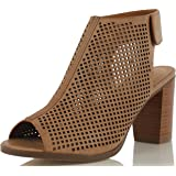 City Classified Women's Roadway Faux Leather Peep Toe Laser Cut Out Slingback Stacked Heels Tan 8.5