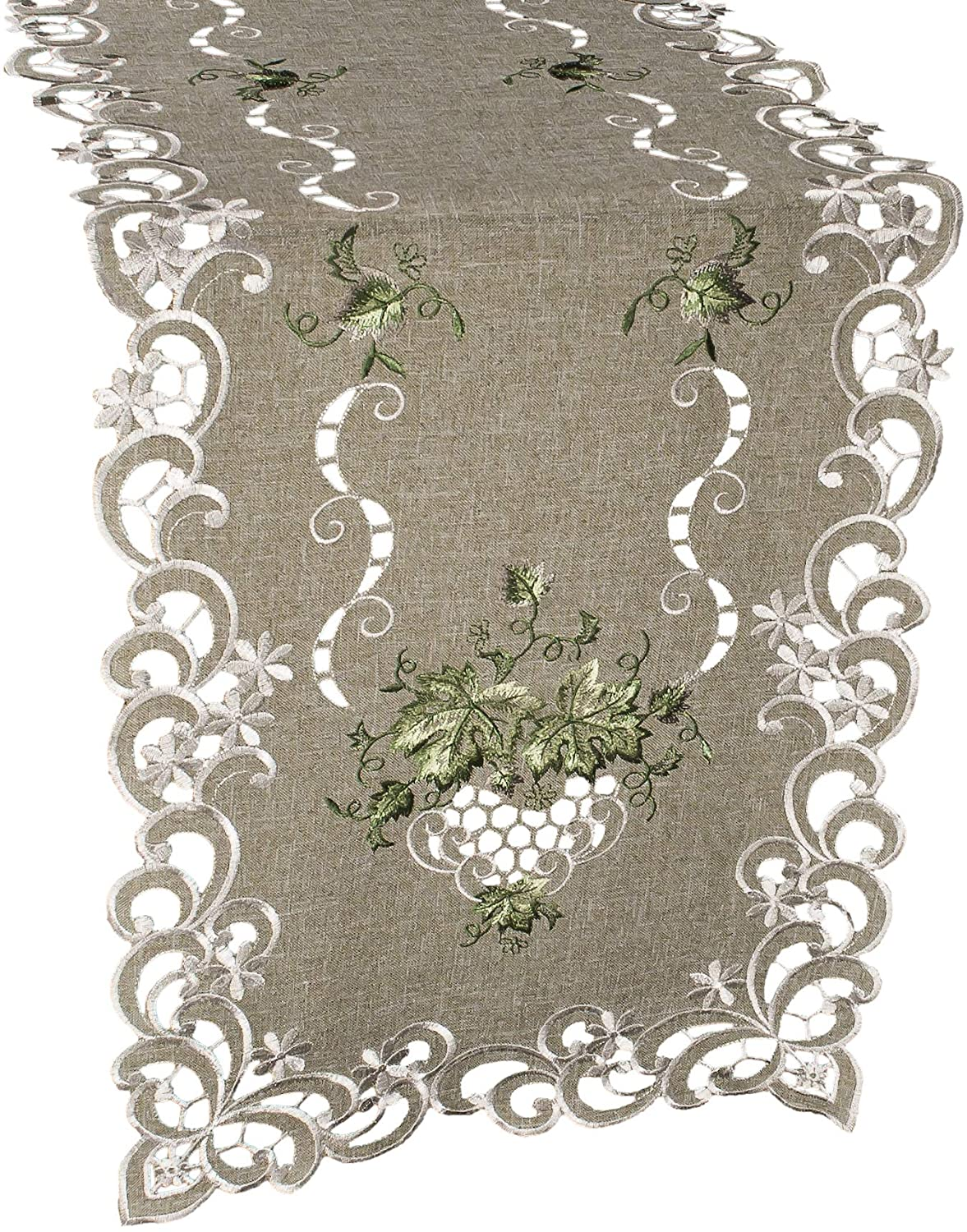 Linens, Art and Things Embroidered Green Leaf on Antique Green Fabric 16 x 35 Inch Table Runner Dresser Scarf Coffee Table Doily