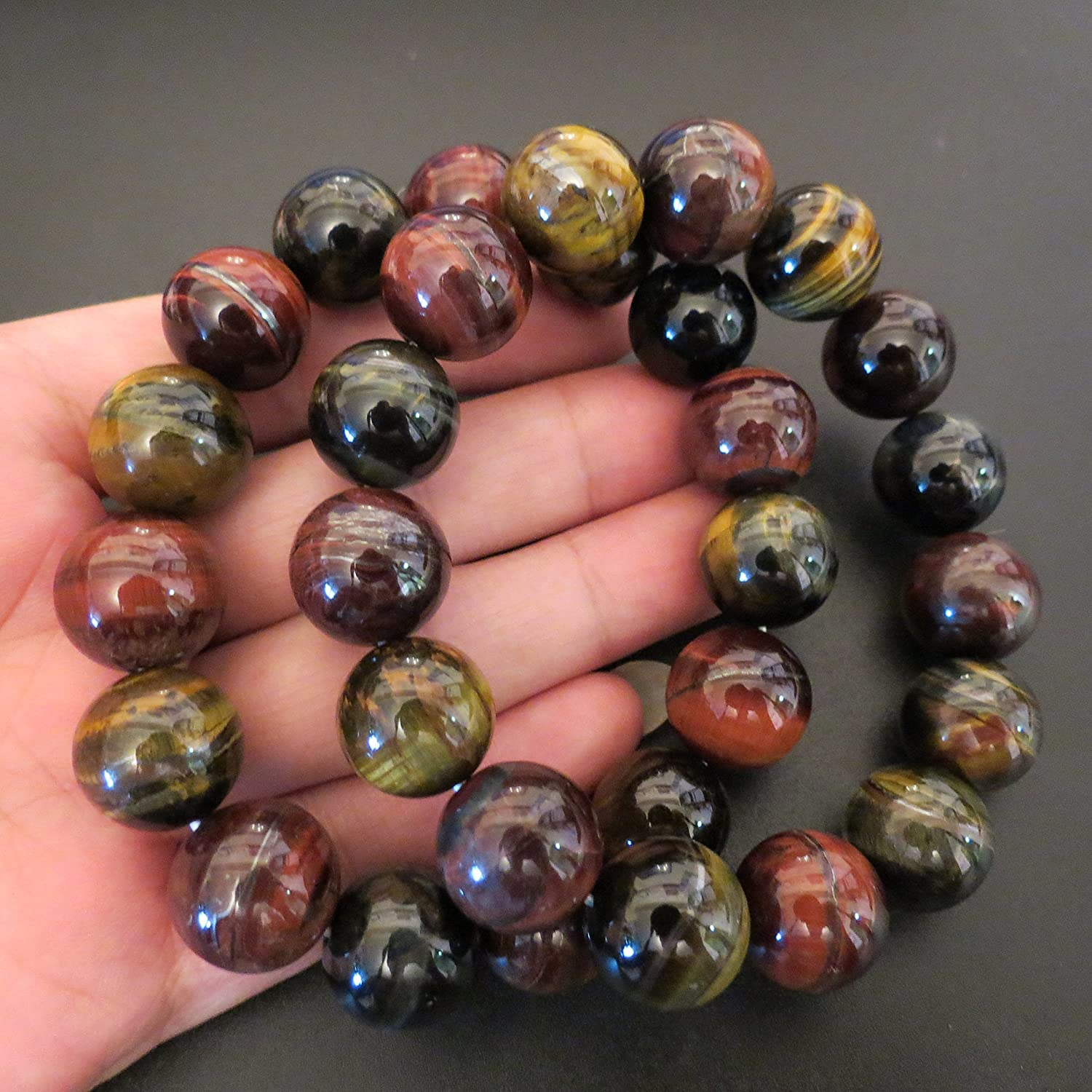 14mm Red Blue Yellow 3 Color Tiger Eye Round Beads Healing Stone Hand Made Miyallu (Ship from Canada)