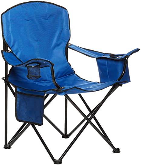 AmazonBasics Camping Chair with Cooler, Blue (Padded) - XL (Renewed)