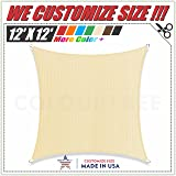 ColourTree 12' x 12' Beige Sun Shade Sail Square Canopy - UV Block UV Resistant Heavy Duty Commercial Grade Outdoor Patio Carport (CUSTOM SIZE AVAILABLE)
