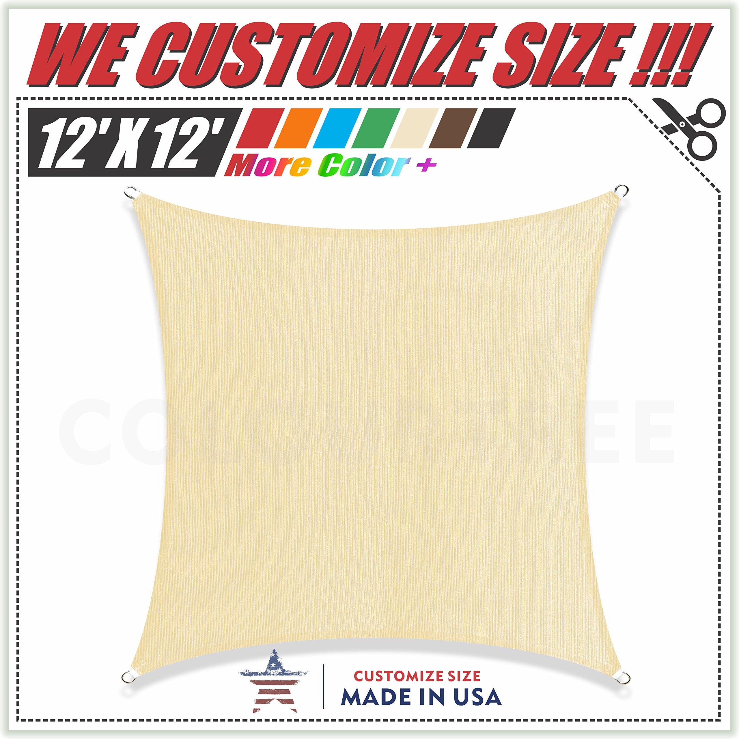 ColourTree 12' x 12' Beige Sun Shade Sail Square Canopy – UV Block UV Resistant Heavy Duty Commercial Grade Outdoor Patio Carport (CUSTOM SIZE AVAILABLE)