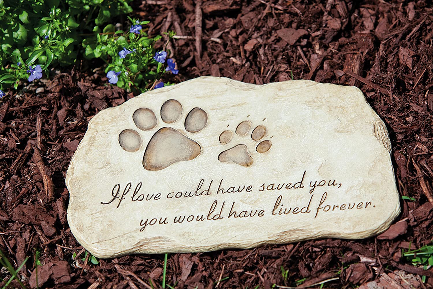"Evergreen Garden Pet Paw Print Devotion Painted Polystone Stepping Stone - 12""W x 0.5""D x 7.5""H TNT Media Group Inc. Pets 746851532146"
