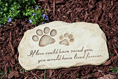 Evergreen Garden Pet Paw Print Devotion Painted Polystone Stepping Stone