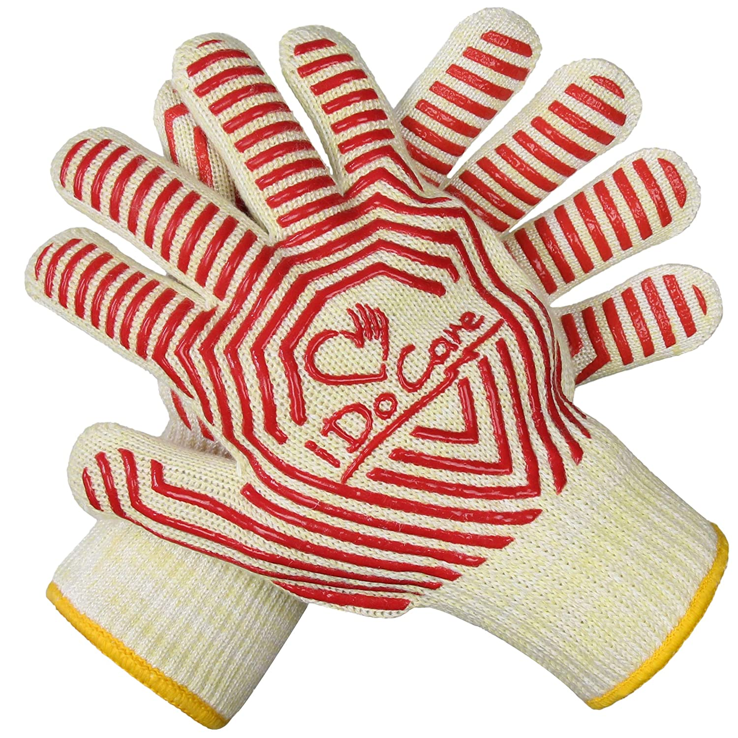 iDoCare Extreme Heat Resistant Oven Gloves, EN407 Certified BBQ Grilling Gloves with No-Slip Silicone Grips, Oven Mitts, Fireplace Gloves, Pot Holders - Best for Grilling, Baking, Cooking, Camping