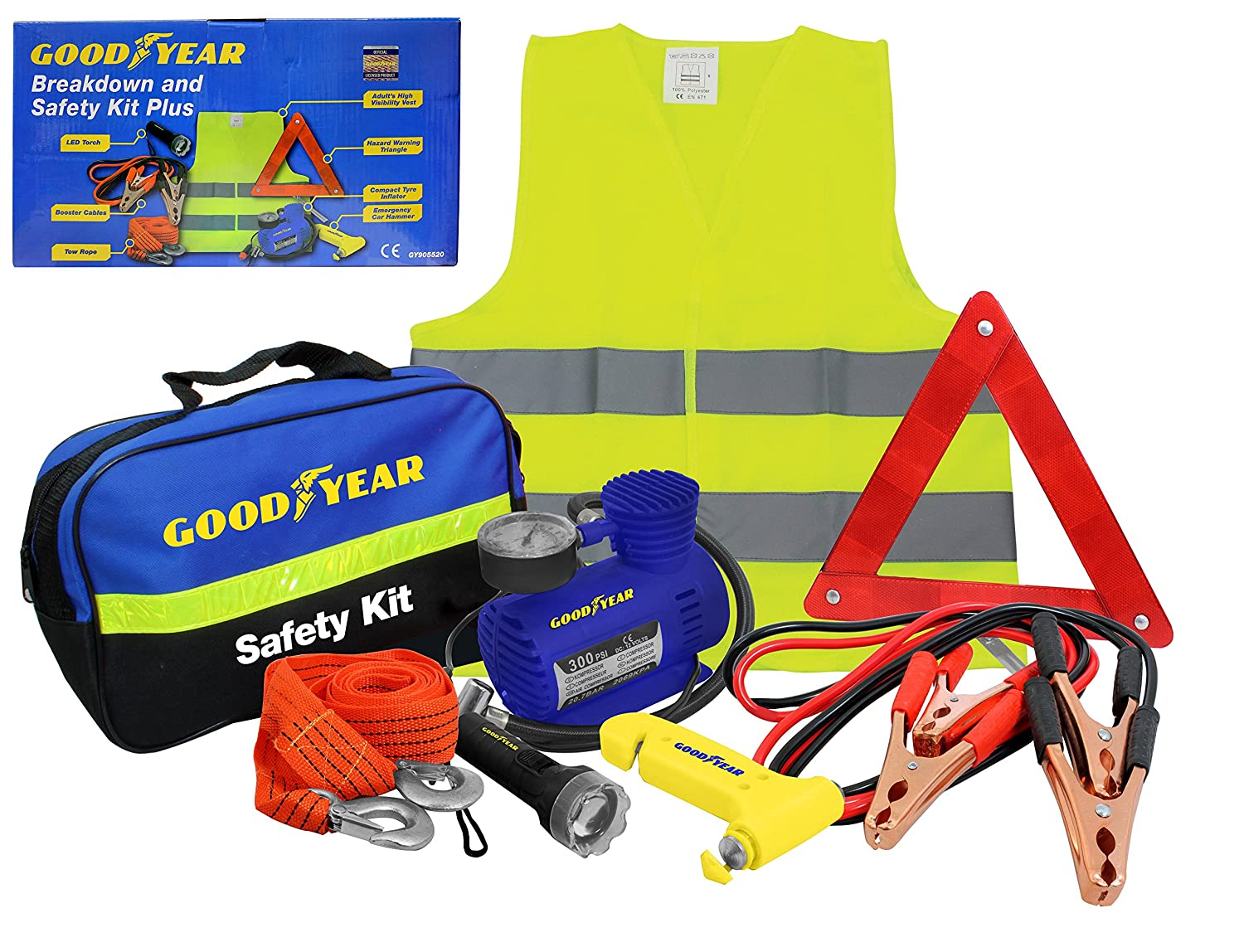 Goodyear 8pc Car Vehicle Safety Breakdown Kit Includes Emergency High Visability Vest/Bib, Tow Rope, Jump Leads, LED Torch, Air Compressor, Warning Triangle 905520