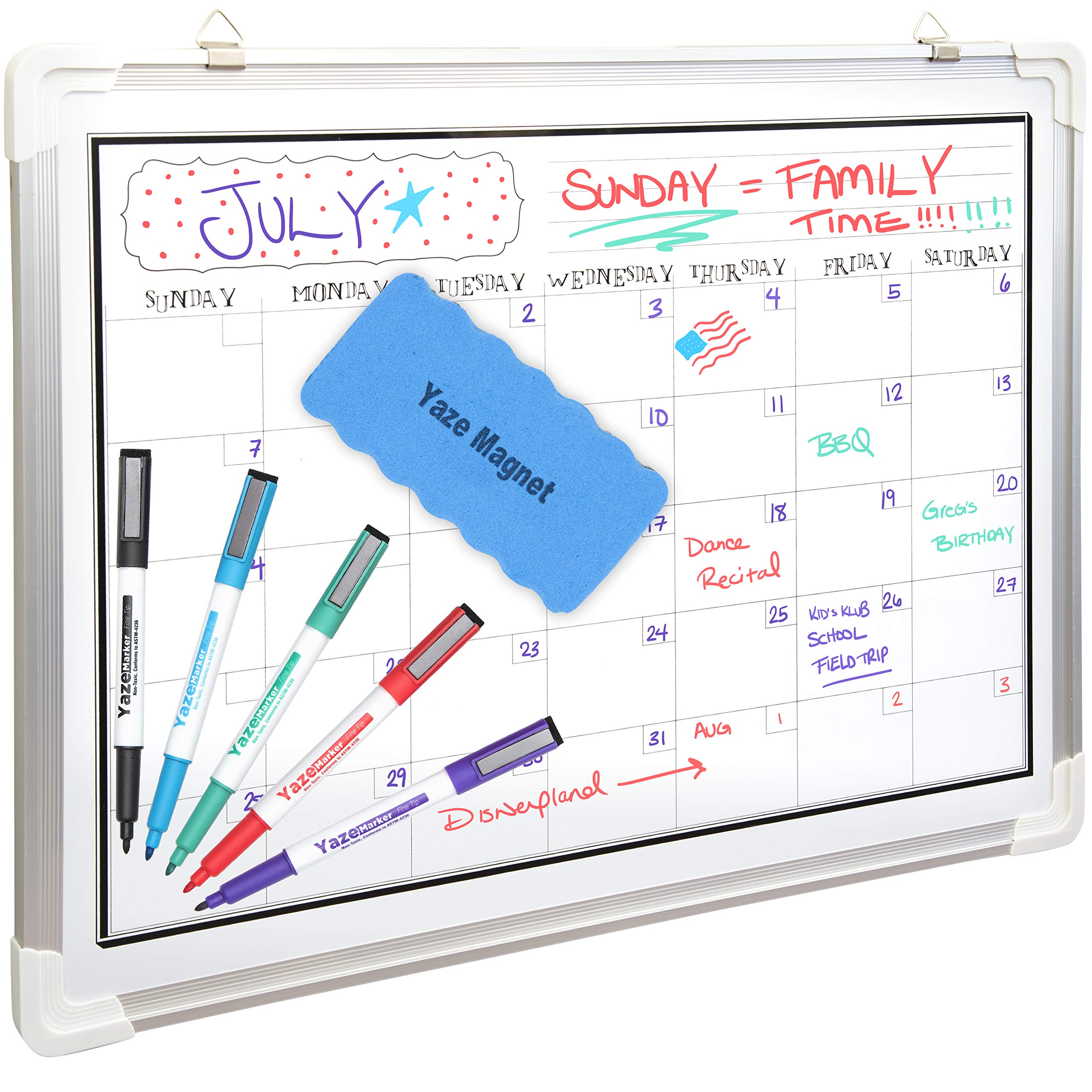 White Board Calendar for Wall | Dry Erase Monthly Planner | 24X18'' | 5 Magnetic Markers & Large Eraser | Stain Resistant Surface | Hanging Whiteboard Organizer for Home Office, Kids Chore, Classroom by Yaze Magnet