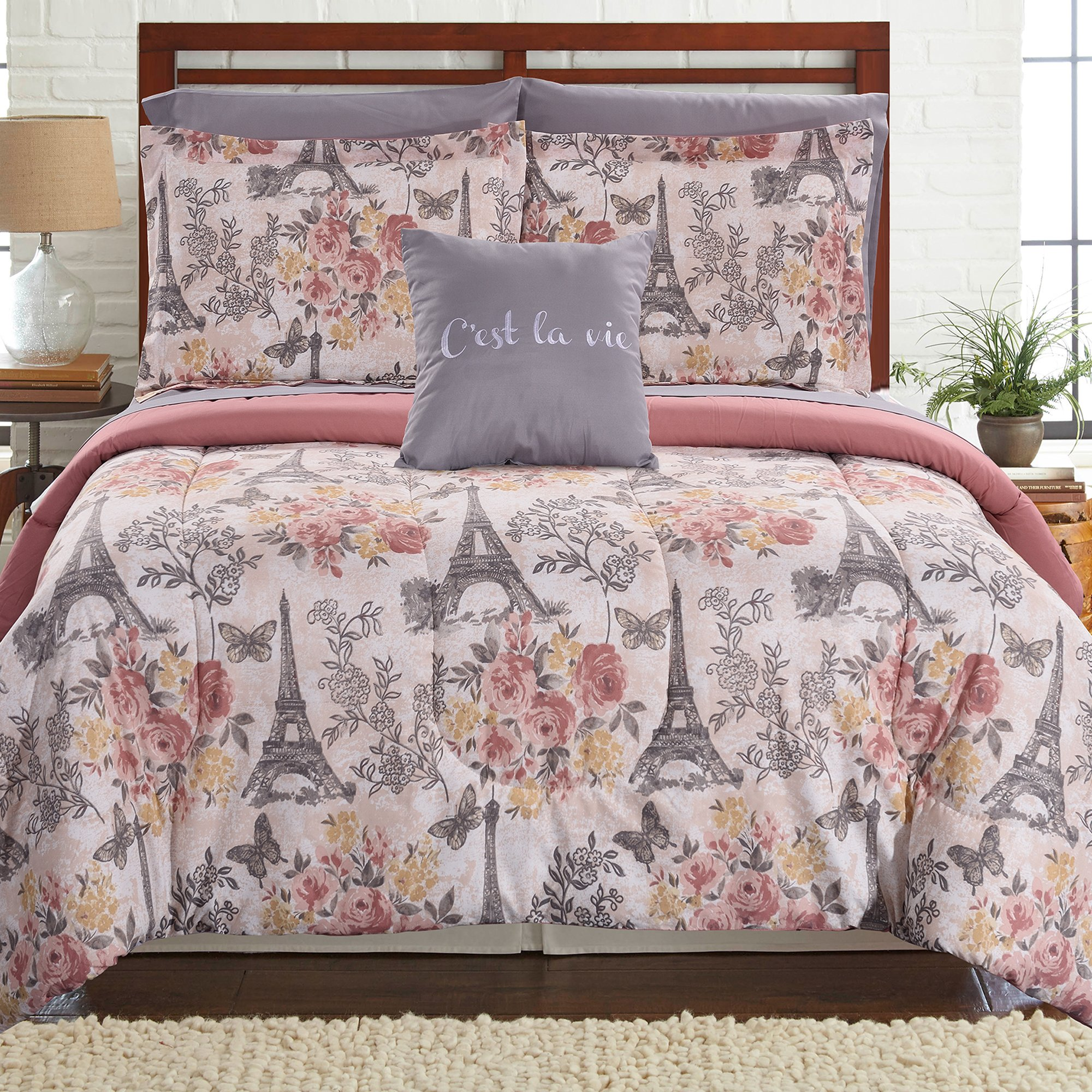 Amrapur Overseas Tuileries Garden 6-Piece Printed Reversible Complete Bed Set