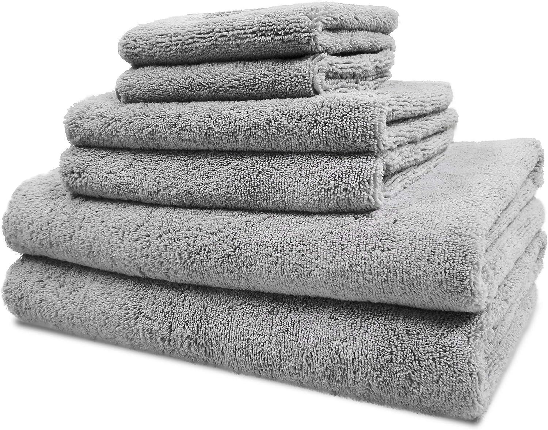Polyte Luxury Quick Dry Lint Free Microfiber Bath Towel Set, 6 Piece (Gray)
