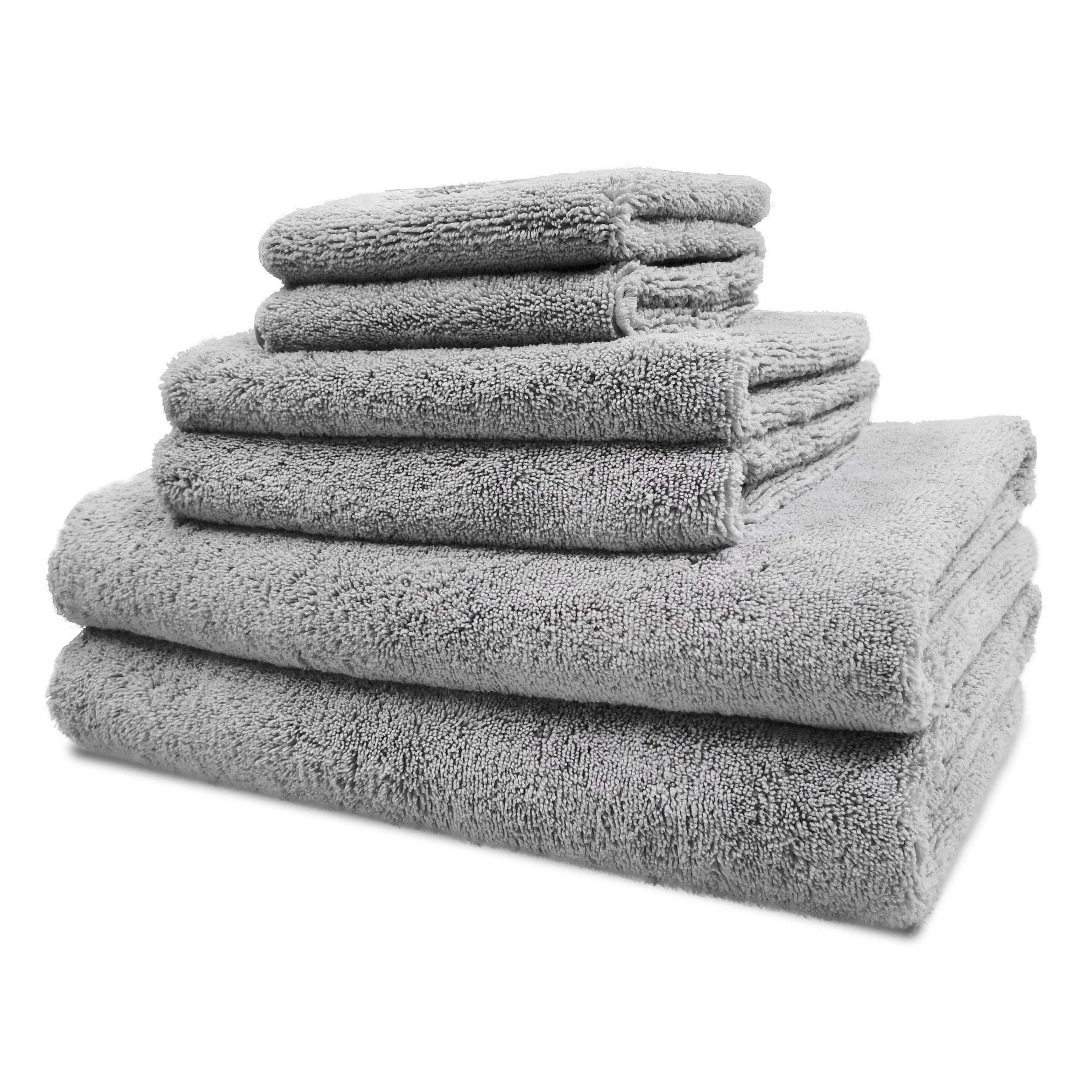 Polyte Luxury Quick Dry Lint Free Microfiber Bath Towel Set, 6 Piece (Gray) by Polyte