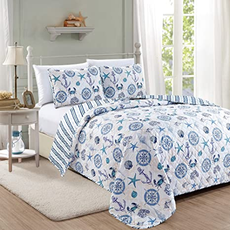 Amazon Com Azure Coastal Collection 3 Piece Quilt Set With Shams Reversible Beach Theme Bedspread Coverlet Machine Washable King Kitchen Dining