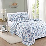 Great Bay Home Azure Coastal Collection 3 Piece Quilt Set with Shams. Reversible Beach Theme Bedspread Coverlet. Machine…