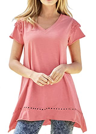 6f82801cbcf TopsandDresses Ladies Cotton Long Asymmetrical Tunic Top in Coral Turquoise  in Women's UK Sizes 6 up to Plus Size 36: Amazon.co.uk: Clothing