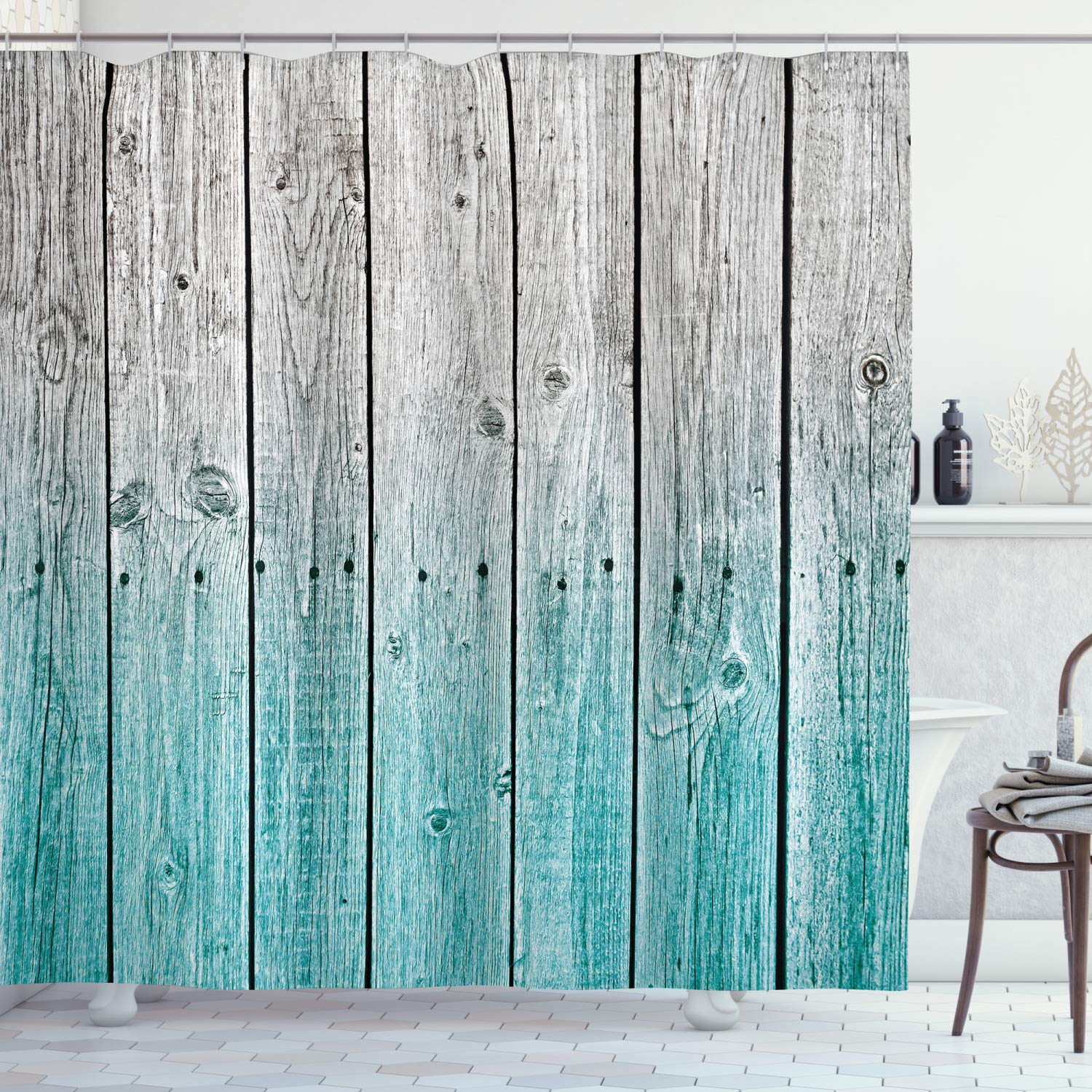 """Ambesonne Rustic Shower Curtain, Wood Panels Background with Digital Tones Effect Country House Art Image, Cloth Fabric Bathroom Decor Set with Hooks, 75"""" Long, Teal Grey"""