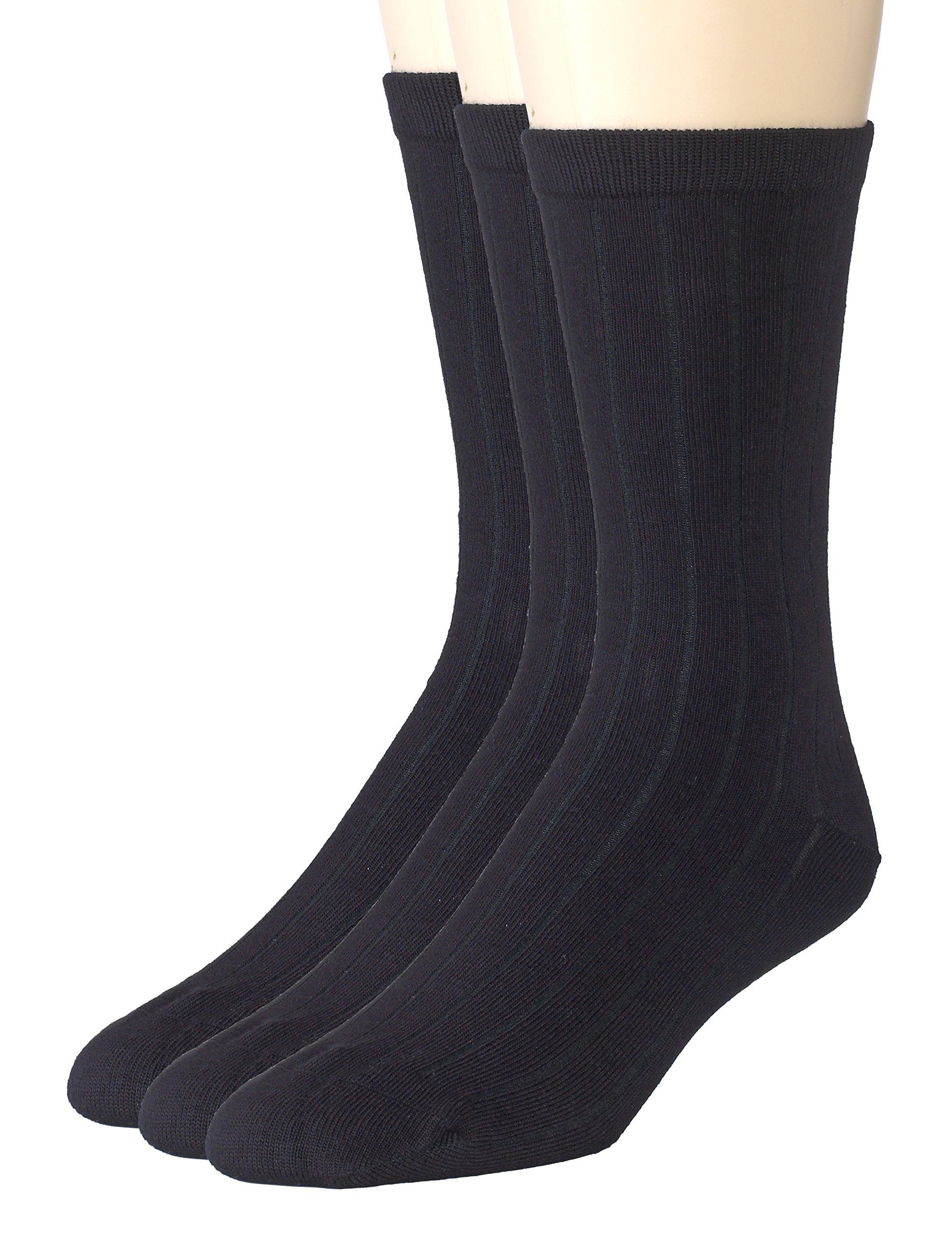 Sportoli Boys' Super Soft Ribbed Classic Cotton Bamboo Crew Casual Uniform Dress Socks (Pack of 3) - Black (8-9)