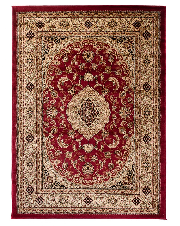 Tapiso YESEMEK Klassisch Teppich Kurzflor Orientalisch Teppiche Ziegler Floral Medaillon Muster und Bordüre in Rot Beige Elegant Barock Design Wohnzimmer ÖKOTEX 200 x 300 cm