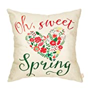 Fahrendom Oh Sweet Spring Watercolor Floral Heart Seasonal Quote Housewarming Cotton Linen Home Decorative Throw Pillow Case Cushion Cover with Words for Sofa Couch 18 x 18 Inch