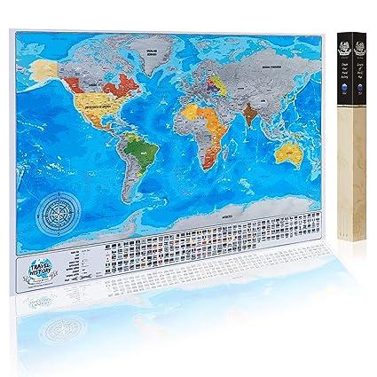 Gratta Mappa Viaggio Con Bandiere Personale Mappa Del Mondo Multicolore 84x57x2 Cm Mappa Con Bandiere Citta Profondita Dei Mari Made In Eu