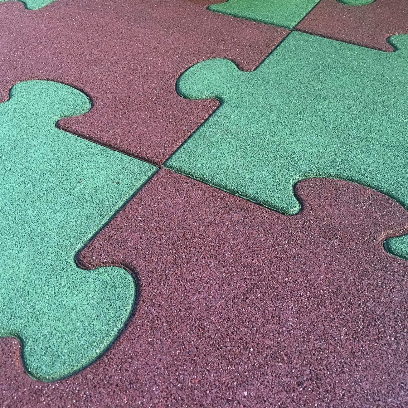 Salone Negozio Online Pavimento antitrauma in Gomma quadrotta Puzzle cm.4,5x50x50 Rosso pz.16-4,00MQ