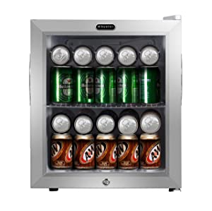 Whynter BR-062WS, 62 Can Capacity Stainless Steel Beverage Refrigerator with Lock White