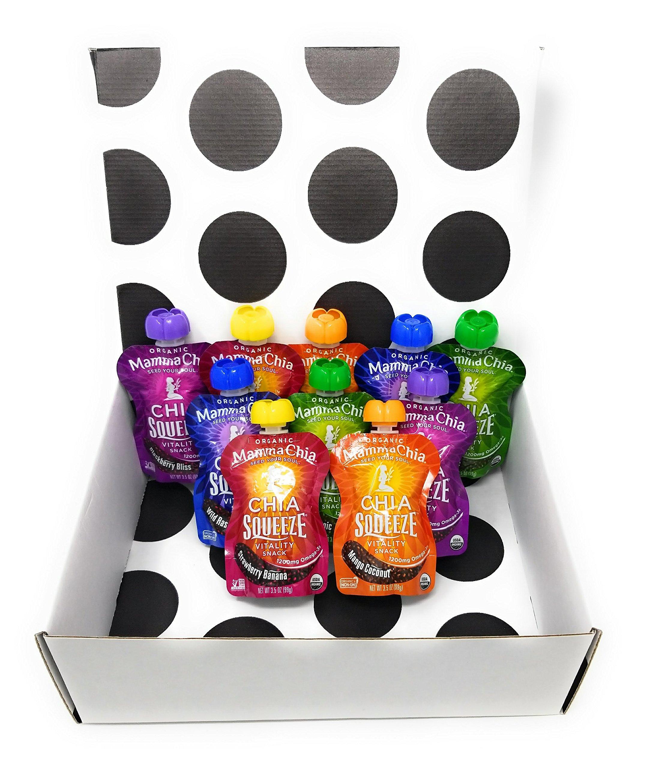 Mamma Chia Organic Squeeze Vitality Snack Variety 10 Pack (Strawberry, Blackberry, Raspberry, Green, Mango)