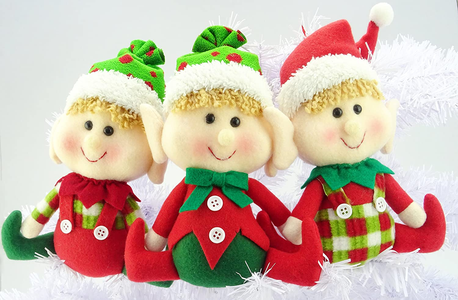 "Christmas Concepts® Set of 9 Plush 9"" Hanging Elf Decorations - Christmas  Decorations"