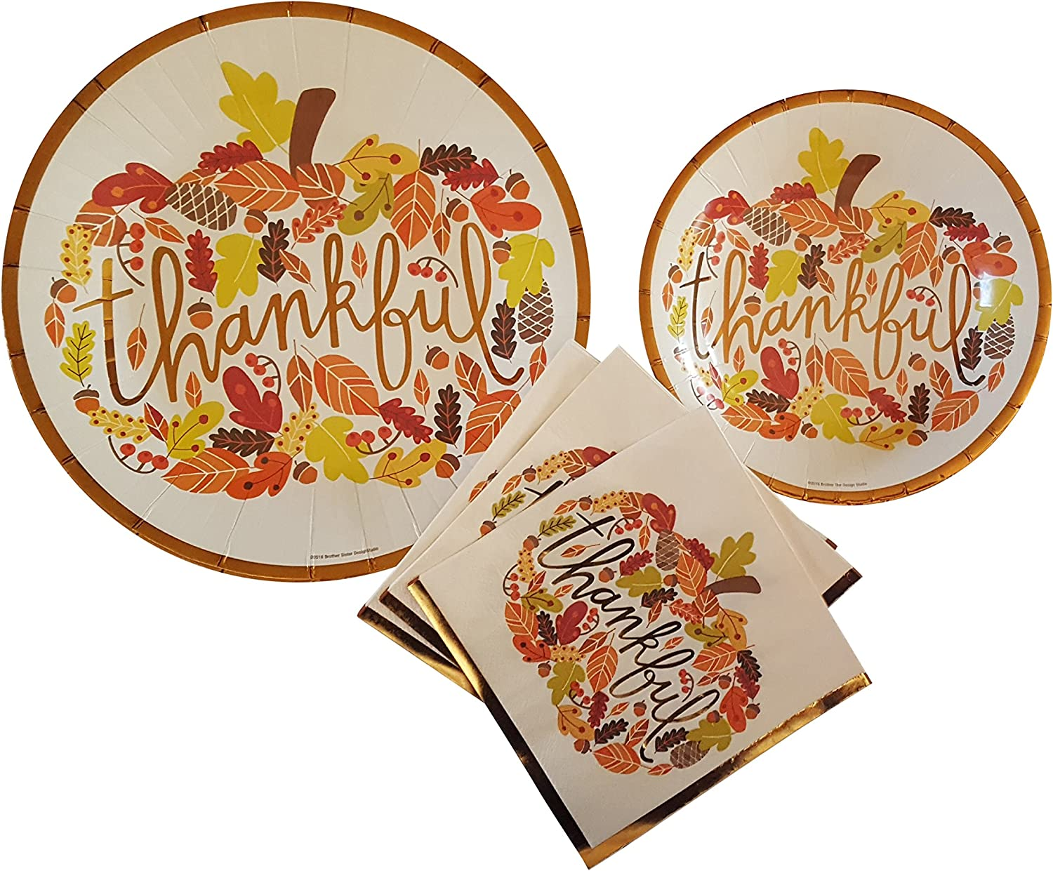 Thanksgiving Paper Plates and Napkins Set